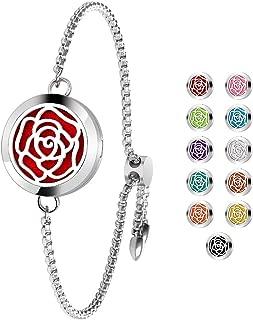 Essential Oil Diffuser Bracelet Adjustable Aromatherapy Locket Slide Healing Bracelet Stainless Steel Rose Locket with 11 Colors Felt Pads