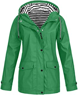 Women's Plus Size Solid Color Striped Lined Outdoor Waterproof Hooded Raincoat Windproof Jacket Trench Coat