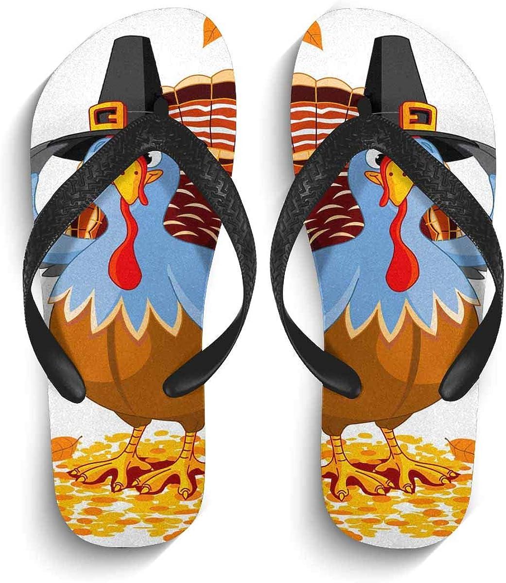 INTERESTPRINT Non-Slip Flip Flop Slippers Surf Pattern Black Straps Slim Thong Sandal for Men