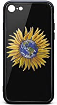BoDu iPhone 7 case iPhone 8 Case Flat Happy Earth Day Sunflower TPU Protective Shockproof Back Cover for iPhone 7 iPhone 8