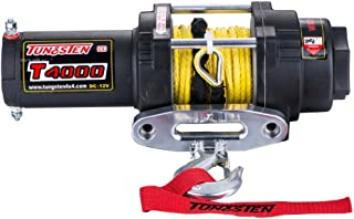 Tungsten4x4 T4000S 1.6 HP ATV/UTV Electric Winch 4000 lbs Capacity Waterproof IP67 with Synthetic Rope, Both Wireless Handlebar Remote and Hawse Fairlead
