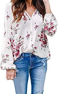 Women's Long Sleeve Tops V Neck Shirts Blouse Cuffed Sleeve Casual Floral Print Pullover