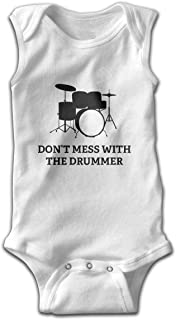 Don't Mess with The Drummer Sleeveless Bodysuit Onesies Custom Personalized Baby Bodysuit One-Piece Baby Clothes White