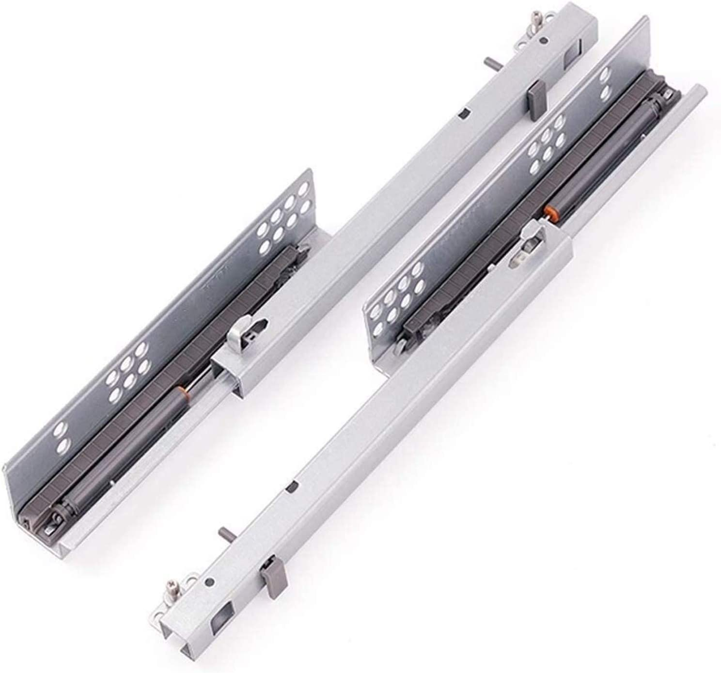 No Noise Three-Section Guide Rail Sliding Smooth Cold Rolled Steel Material Drawer Slides Drawer Runner Slides,Drawer Bottom Track Damping Buffer Size : 30cm Hidden One Pair Contains Two