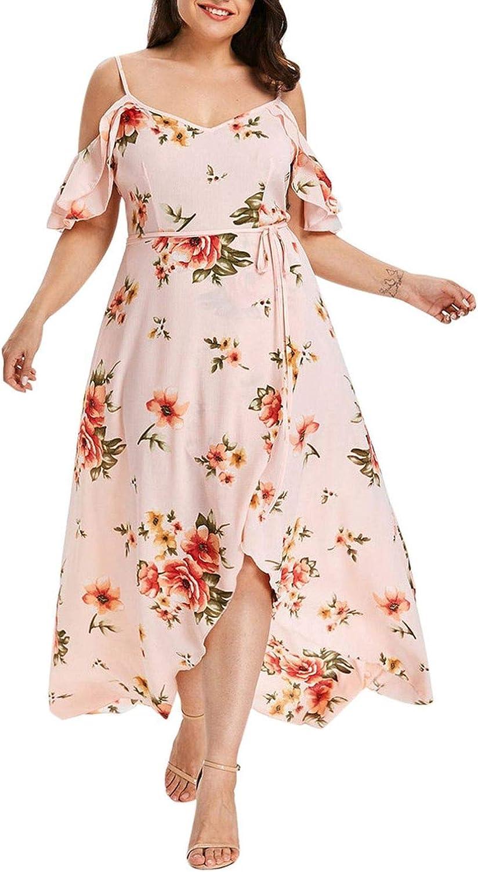 Getin Off Shoulder Boho Dress Ruffle Beach Flower Strap Summer Dress Floral Print Tunic Maxi Long Dresses