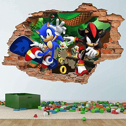 Pegatinas 3D muraux Pegatinas muraux Sonic et Shadow Hedgehog Pegatinas 3D muraux Autocollants amovibles autocollants en vinyle enfants chambre mur art enfants decoración de bande dessinée