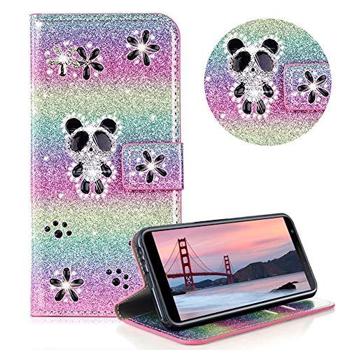 Glitzer Strass Brieftasche für Galaxy J4 2018,Regenbogen Rosa Leder Handyhülle für Galaxy J4 2018,Moiky Luxus 3D Magnetisch Kristall Niedlich Panda Blumen Diamant Hülle mit Kartenfächer Ständer