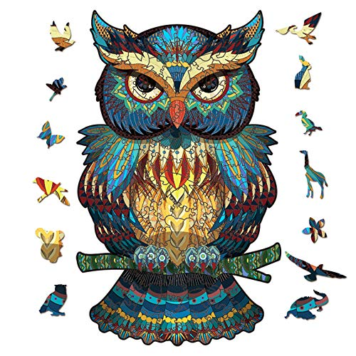 Wooden Jigsaw Owl 3D Puzzle Irregular Animal Shape Jigsaw Puzzles Pieces Suitable for Adults Teenagers Kids Unique Puzzle Perfect Match Imagination Gift Toys