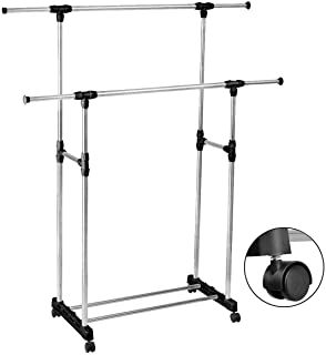 Inditradition Stainless Steel Premium Double-Pole Clothes Hanger / Rack, Rolling Bar Rail Rack, (For Clothes / Shoes) Adjustable
