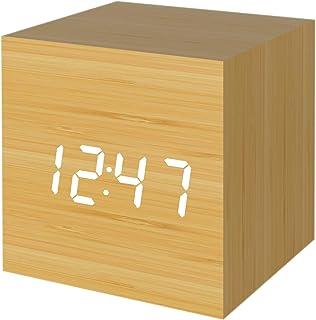 Muerkai 置き時計 置時計 デジタル おしゃれ 北欧 木目調 アンティーク 時計 クロック 目覚まし時計 デジタル時計 アラーム時計 卓上 アラーム 日付 温度 木製 ウッド シンプル インテリア リビング 新築祝い 結婚祝い 【イエロー】