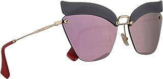 Miu Miu MU56TS Sunglasses Opal Dark Blue w/Dark Grey Mirror Pink 63mm Lens I18147 MU 56TS SMU 56TS SMU56T