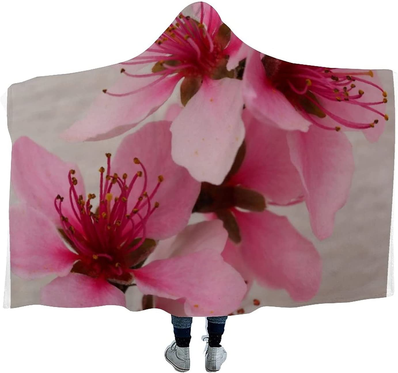 Beautiful Peach Blossom 4 years warranty Super beauty product restock quality top! Cushion Microfib Blanket Wearable Hooded