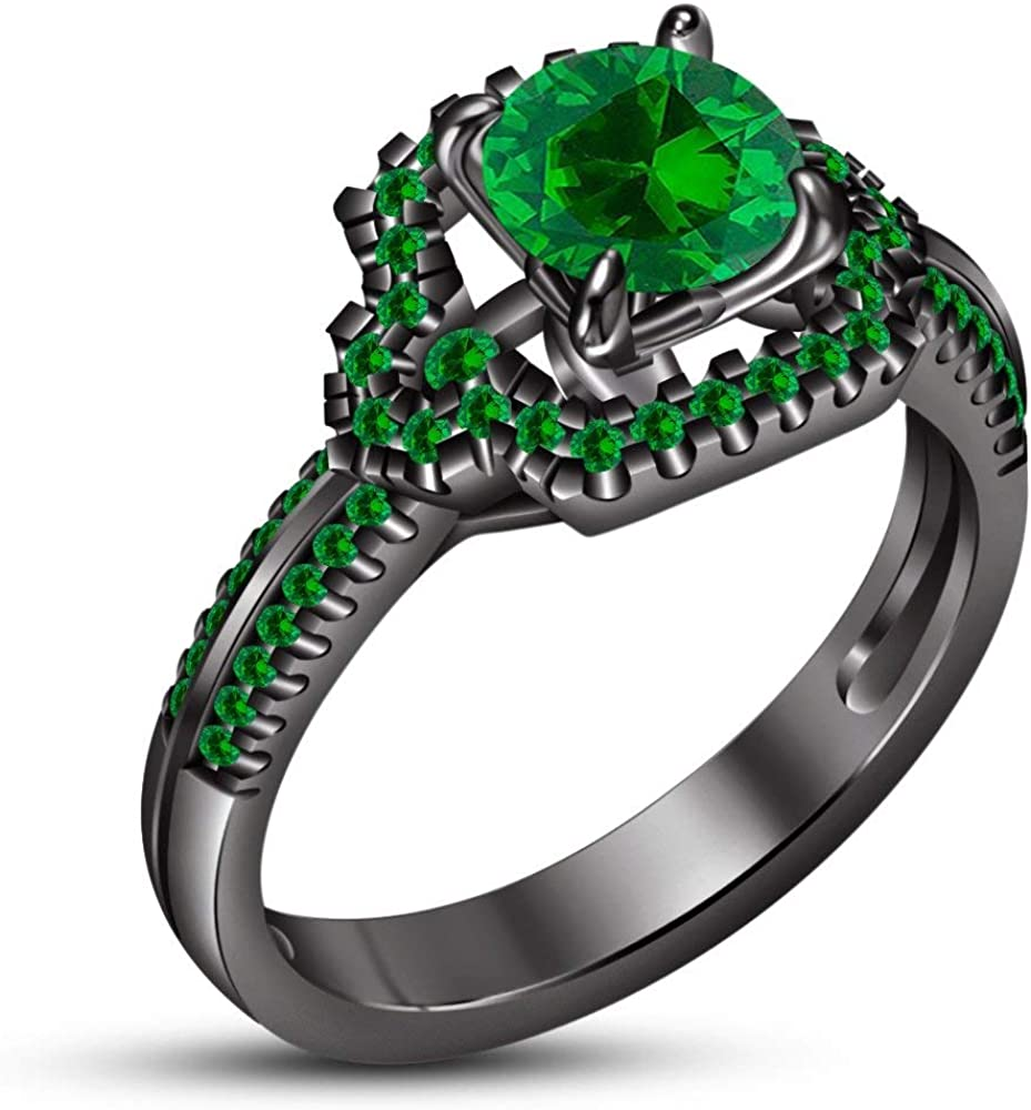 TVS-JEWELS Max 47% Super sale OFF Green Sapphire Gemstone 925 Engag Silver Plated Black