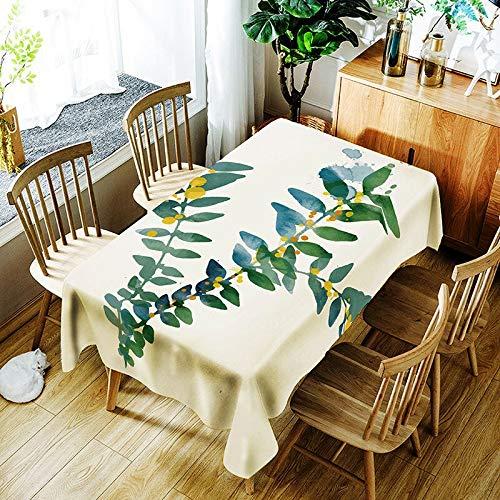 XXDD Mantel con patrón de Hoja de plátano de Planta Verde 3D, Mantel de pájaro de Dibujos Animados con impresión Digital, Cubierta de Mantel Impermeable Lavable A11 135x160cm