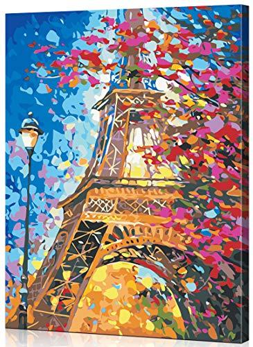 WONZOM DIY Pintura al óleo Kit de Pintura por Números para Adultos, Pintar por Numeros para Niños Dibujo con Pinceles Pintura - Torre Eiffel 16 * 20 Pulgadas con Marco de Madera