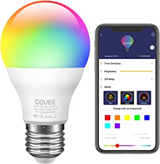 Govee LED Light Bulb Dimmable, Music Sync RGB Color Changing Light Bulbs A19 7W (60W Equivalent), Multicolor Decorative No Hub Required Smart LED Bulbs with APP for Party, Home (Don't Support WiFi)