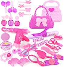 Beauty Salon Play Set Pretend Makeup Kit Kids Toy Play House Game with Portable Box Great for Little Girls (1 Set)