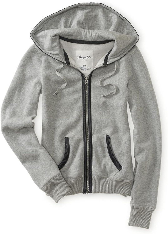 Aeropostale Womens Faux Leather Hooded Hoodie Sweatshirt