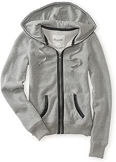 Womens Faux Leather Hooded Hoodie Sweatshirt
