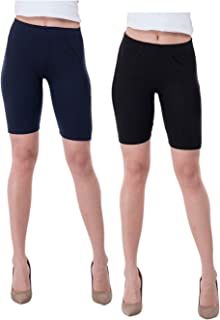 IndiWeaves Women's Cotton Cycling Shorts (Csw01csw03-iw_Navy Blue/Black_40) Pack of 2