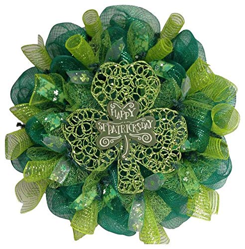 Happy St Patrick's Day Glittering Shamrock Deco Mesh Wreath
