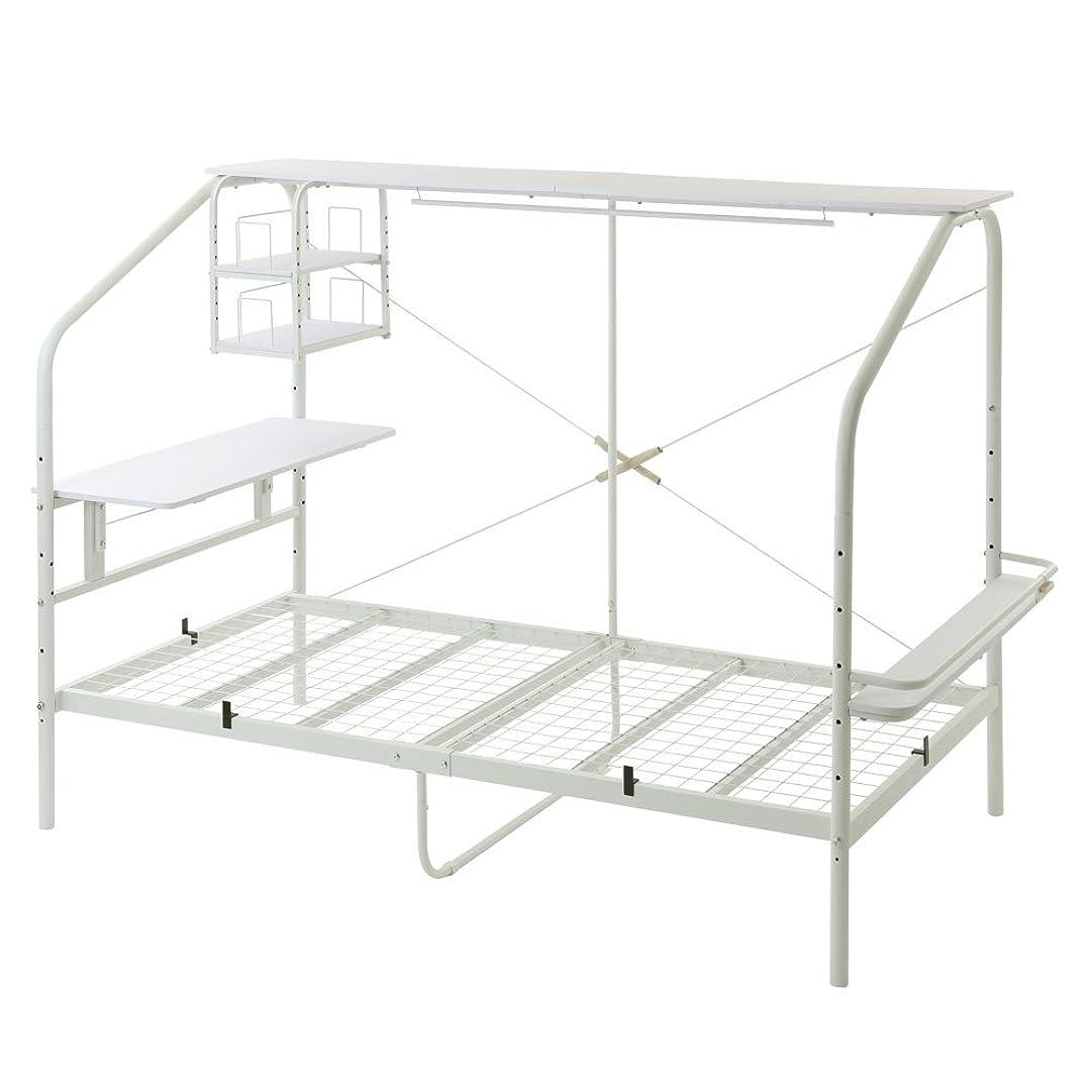かけがえのない太平洋諸島ペンぼん家具 ベッドフレーム シングル デスク付 宮棚 ラック 220×114cm ホワイト×ホワイト
