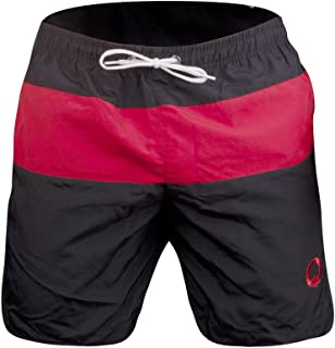OTARO ® Men's Swimming Trunks (Size S, M, L, XL) high quality swimming trunks, ideal for water sports and leisure (black/red)