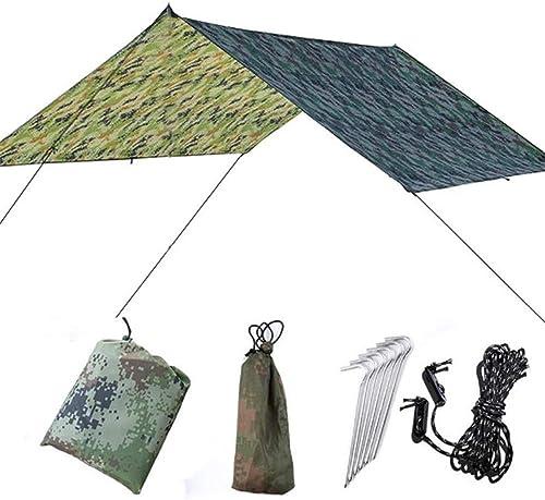 Abri bache de camping Camouflage 9.8x9.5 Pieds Hamac Bache Couverture Tente étanche Rain Fly Tarp Shelter Avec Enjeux Cordes Survival Gear Kit Pour La Pêche Plage Camping Randonnée Bache de voyage pou