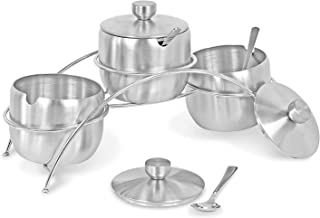 Internet's Best Condiment Serving Bowls with Stand - Set of 3 - Catering Hosting Serving Dish Set with Lids and Spoons - S...