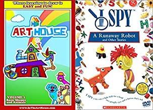 Learning to Draw Shapes & Animals Art House + I Spy Scholastic Runaway Robot & other stories DVD Kids 2 Pack