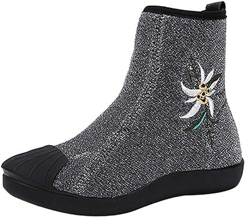 ZHRUI Bottes pour Femmes Martin Bottes Plates à Talons Plats Sauvages et Bottines décontractées Chaussures Chaudes (Couleuré   argent3, Taille   35EU)