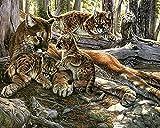 Kit de pintura de diamantes 5D,Leopardo animal bosque amarillo Taladro redondo punto de cruz, bordado, artesanía para adultos, niños, para decoración del hogar