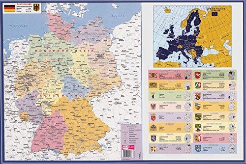 Veloflex 4674000 Schreibunterlage 40x60cm, Schreibtisch-Unterlage, Deutschland-Karte, abwischbar, rutschfest