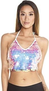 Women's Disco Sequin Crop Top Shirts