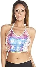 iHeartRaves Women's Disco Sequin Crop Top Shirts