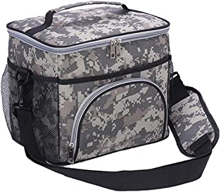 HMQINYI 14L Large Lunch Box For Man camouflage Insulated Lunch Bags For Women Pretty Picnic Cooler Bag For Man 18-cans (CAMO)