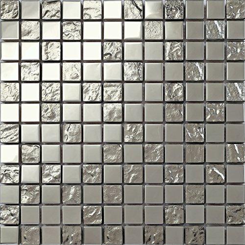 Complement 30x30cm Silber Edelstahl und texturiert Glas Mosaik Fliesen Matte (MT0129)