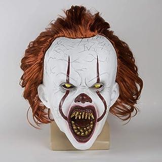 Horror Masks New LED Horror Joker Scary Mask Stephen King Chapter Two Clown Latex Masks Helmet Halloween Party Props (Colo...
