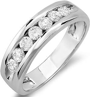 حلقه Dazzlingrock 0.85 قیراط (ctw) 14k حلقه گرد مردانه الماس حلقه ، طلا سفید