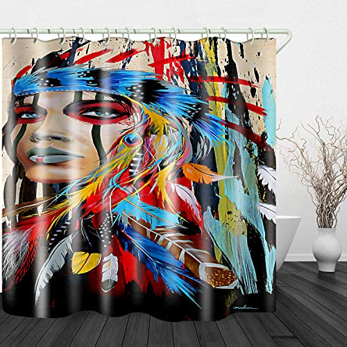 JINYAO Ethnic Wind Oil Painting Indians Print Waterproof Fabric Shower Curtain for Bathroom Home Decor Covered Bathtub Curtains Liner Includes with Hooks 71 x 71 Inches