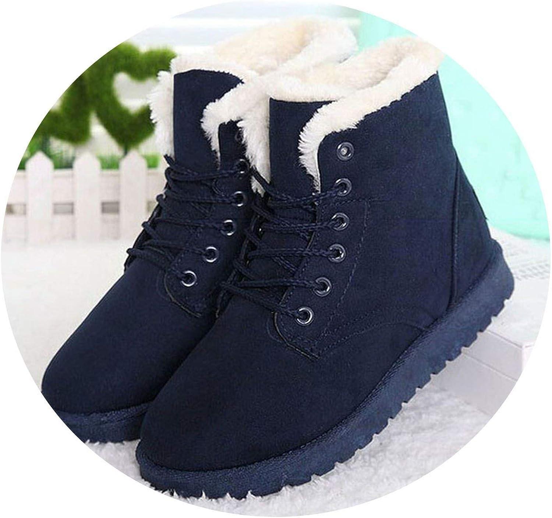 Women Boots Fashion Heels Snow Boots Plus Velvet Warm Winter Ankle Lace-Up shoes Female