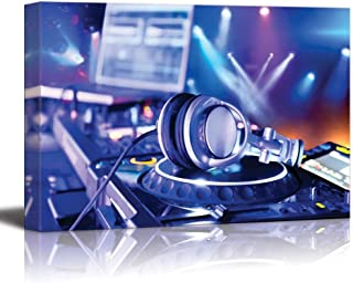 Canvas Prints Wall Art - Dj Mixer with Headphones at Nightclub | Modern Wall Decor/Home Decor Stretched Gallery Wraps Giclee Print & Wood Framed. Ready to Hang - 24