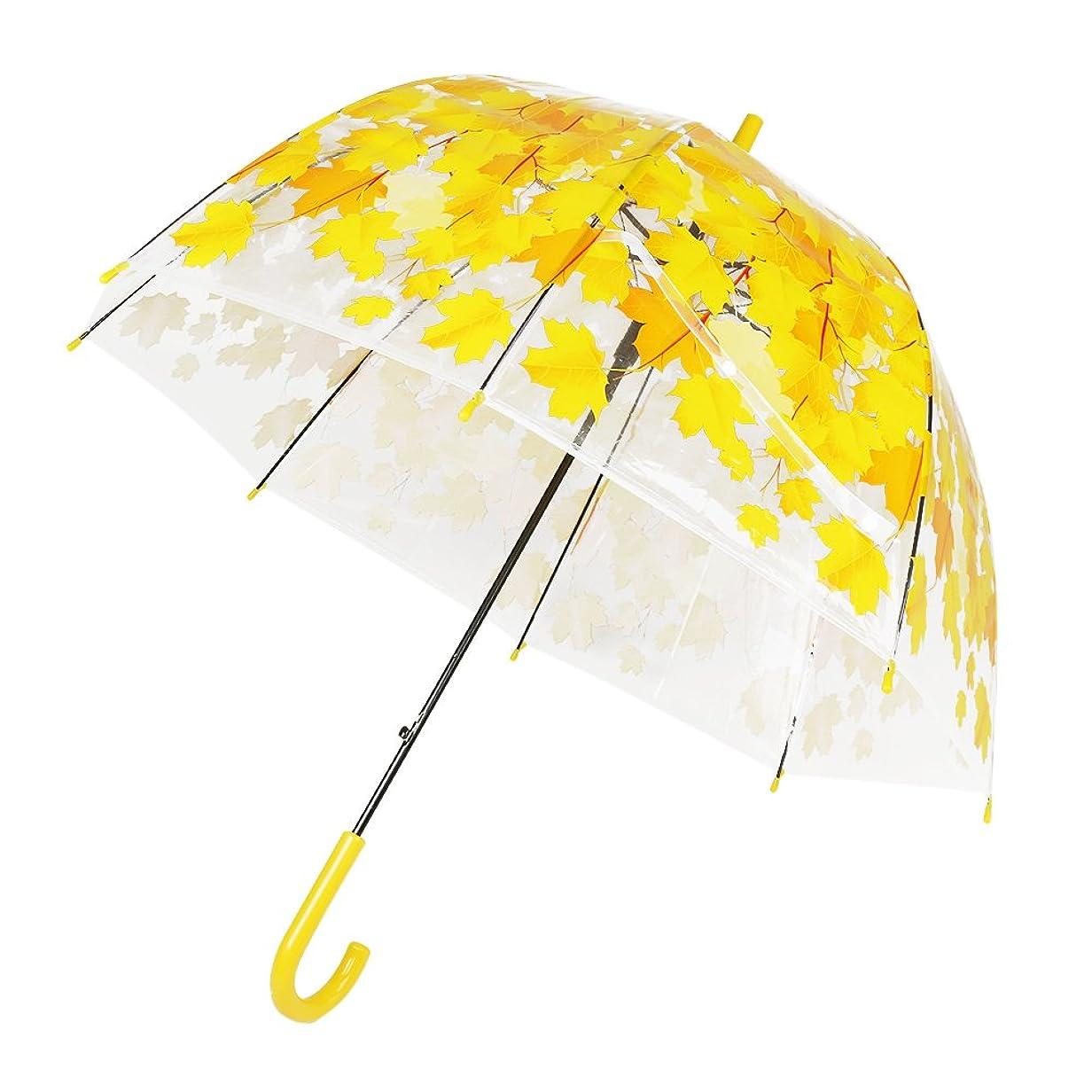 マントロバ終わらせるHuaJian 長傘 半透明ビニール傘 傘 ビニール 丈夫 紅葉柄傘 半自動開閉仕様女性用 花柄子供のための泡の傘ドーム形の雨の傘 8本骨 (イエロー)