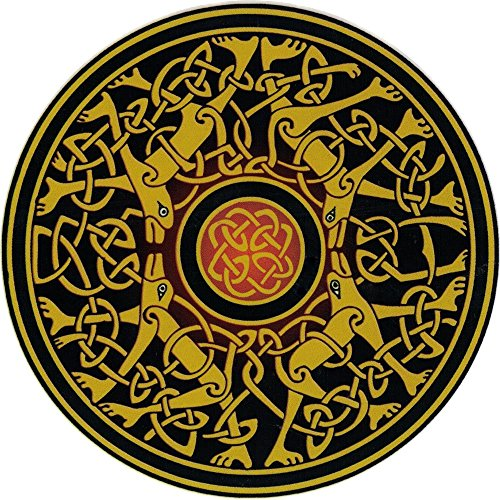Happylife Productions Celtic Dogs - Window Sticker/Decal (4.5' Circular)