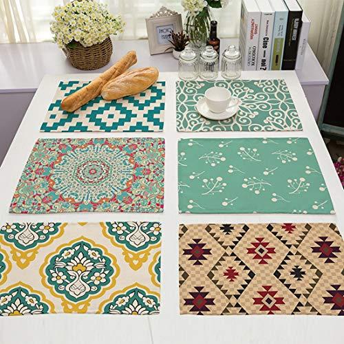 JameStyle26 - Set di 6 tovagliette all'americana dal design moderno, motivo floreale, in cotone e lino, 43 x 33 cm