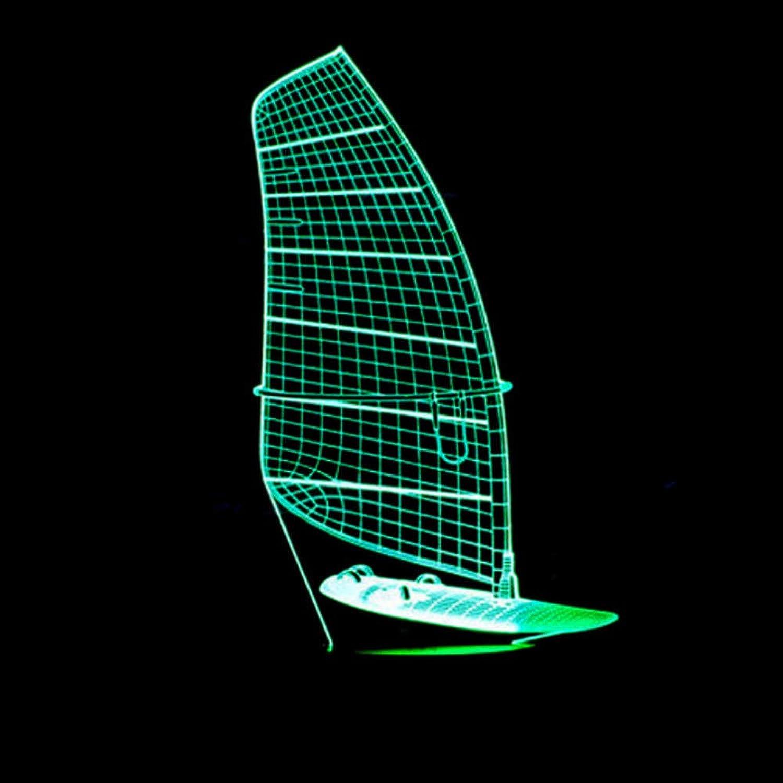 Zonxn 3D Night Light Marine Ship Model Table Lamp 7 color Changing Sailing Boat Light Fixture Home Decor Sleep Lighting