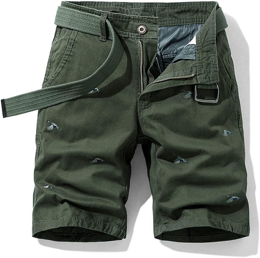 WSSBK Men Summer Cargo Shorts Men Vintage Classic Casual Shorts Pants Japanese-Style Embroidery Fashion Cotton Loose Shorts Men (Color : C, Size : 36)