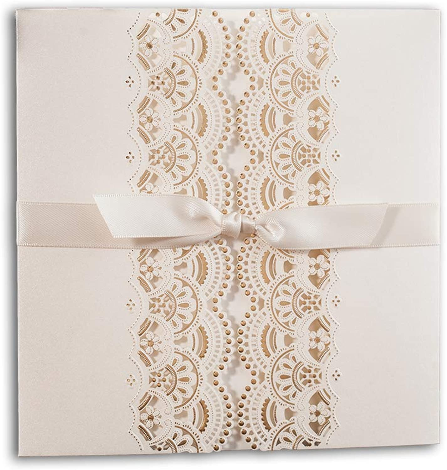 50 WISHMADE White Ivory gold Foil Wedding Invites with Envelope RSVP and Thank You Card, Handmade Ribbon Design Blank Printable Invitation for Engegement Bridal Shower CW6111