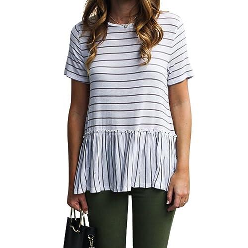 fc30c36493187f Nlife Women Casual Stripe Blouse Short Sleeve Shirt Tops Tunic Shirt Peplum  Shirt