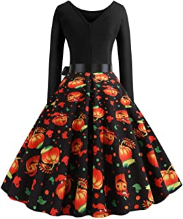 Women Vintage Cocktail Party Dress 1950s Retro Pumpkin Ghost Print Patchwork Stitched A-line Halloween Swing Dress